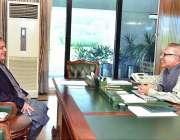 اسلام آباد: صدر مملکت ڈاکٹر عارف علوی سے قائد ایوان سینیٹ سید شبلی فراز ..