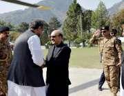 مظفر آباد: وزیراعظم شاہد خاقان عباسی کا مظفر آباد پہنچنے پر صدر آزاد ..