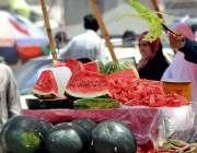 راولپنڈی: ریڑھی بان تربوز فروخت کر رہاہے۔