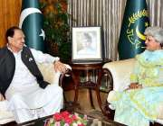 اسلام آباد: صدر مملکت ممنون حسین سے لینہ سلیم معظم ملاقات کر رہی ہیں۔