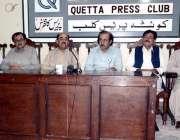 کوئٹہ: پشتونخوا اور نیشنل پارٹی کی مشترکہ پریس کانفرنس سے صدیق پانیزئی، ..