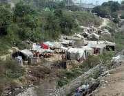 راولپنڈی: خانہ بدوش نے ڈھوک ہسو کے قریب نالے کے کنارے خیمے لگا رکھے ..