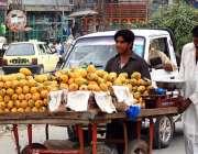 اسلام آباد: ریڑھی بان پھیری لگا کر آم فروخت کر رہا ہے۔