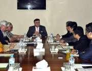 اسلام آباد: وزیر مملکت دانیال عزیز ایک اجلاس کی صدارت کر رہے ہیں۔