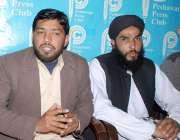 پشاور: جمعیت طلباء اسلام کے صوبائی رہنما فضل ربی پریس کانفرنس کر رہے ..