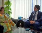 اسلام آباد: وفاقی وزیر برائے انسانی حقوق شیریں مزاری سے ترک سفیر مصطفی ..