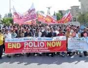 راولپنڈی: پولیو اور خسرہ بارے آگاہی واک کی جار ہی ہے۔