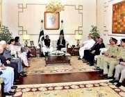 اسلام آباد: صدر مملکت ممنون حسین اور نگران وزیراعظم جسٹس (ر) ناصر الملک ..