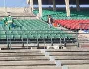 لاہور: ورلڈ الیون ہاکی میچز کے انتظامات کے حوالے سے ہاکی اسٹیڈیم میں ..