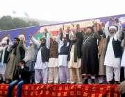 لاہور: تاجدار ختم نبوت مارچ میں قائدین ہاتھوں میں ہاتھ ڈالے یکجہتی ..