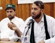 پشاور: پاکستان مسلم لیگ (ن) ڈسٹرکٹ پشاور کے نائب صدر فضل ربی پریس کانفرنس ..