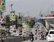 راولپنڈی: سیاسی گہما گہمی مری روڈ پر سیاسی امیدواروں کے لگے بینروں ..