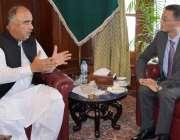 پشاور: گورنر خیبر پختونخوا شاہ فرمان سے چائنہ کے سفیر یاؤ جنگ ملاقات ..