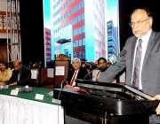 کراچی: وزیر داخلہ احسن اقبال تقریب سے خطاب کر رہے ہیں۔