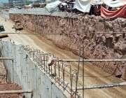 اسلام آباد: وفاقی دارالحکومت میں کھنہ پل انٹر چینج پر جاری تعمیراتی ..