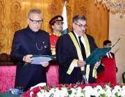 اسلام آباد: صدر مملکت ڈاکٹر عارف علوی جسٹس اطہر من اللہ سے چیف جسٹس ..