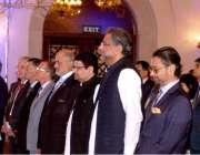 اسلام آباد: وزیراعظم شاہد خاقان عباسی دیگر کے ہمراہ قومی ترانے کے احترام ..