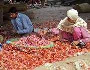 فیصل آباد: خاتون اور نوجوان محنت کش سبزی منڈی میں پیاز چھانٹی کر رہے ..
