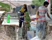 راولپنڈی: ایک فیملی گھر کا چولہا جلانے کے لیے روف سیلنگ شیٹس تیار کر ..