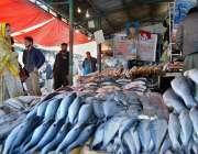 اسلام آباد: سردی کی شدت میں اضافے کے بعد دکاندار مچھلی فروخت کررہے ہیں۔