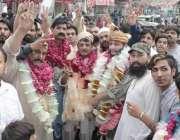 لاہور: تحریک انصاف کے حلقہ این اے127سے امیدوار جمشید اقبال چیمہ باغبانپورہ ..