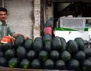 اٹک: ریڑھی بان گاہکوں کو متوجہ کرنے کے لیے تربوز سجا رہا ہے۔