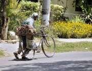 اسلام آباد: محنت کش سخت گرمی اور دھوپ کے باوجود چارپائیاں بننے کے لیے ..