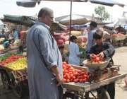لاہور: ایک شخص سبزی منڈی میں ٹماٹر خرید رہا ہے۔