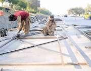 اسلام آباد: مزدور سگنل فری ایکسپریس وے میں فیض آباد کیق ریب اوور کراسنگ ..