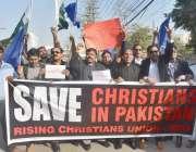 لاہور: رائسنگ کرسچن یونین کے زیر اہتمام مسیحی افراد احتجاج کر رہے ہیں۔
