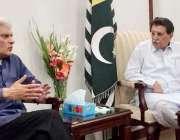 اسلام آباد: وزیراعظم آزاد کشمیر راجہ فاروق حیدر خان سے سینیٹر ڈاکٹر ..