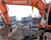 اسلام آباد: ایکسپریس ہائی وے پر کھنہ پل انٹرچینج پر جاری تعمیراتی کا ..