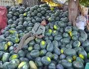 حیدر آباد: کمسن بچہ تربوز فروخت کے لیے گاہکوں کا منتظر ہے۔