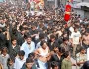 لاہور: حضرت علی (رض) کے یوم شہادت کی مناسبت سے نکالے گئے ماتمی جلوس میں ..