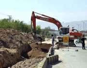 اسلام آباد: وفاقی دارالحکومت میں جاری ترقیاتی منصوبوں کے دوران9thایونیو ..