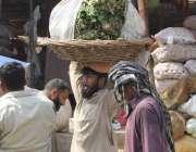 لاہور: سبزی منڈی میں ایک محنت کش سر پر سبزیاں اٹھائے جا رہا ہے۔