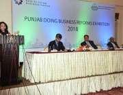 لاہور: صوبائی وزری خزانہ ڈاکٹر عائشہ غوث پاشا ایک تقریب سے خطاب کر رہی ..
