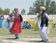 پشاور: ڈی آئی جی خان کی انڈر23گیمز کی تقریب میں طالبات ٹیبلو پیش کر رہی ..