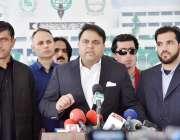 اسلام آباد: وفاقی وزیر اطلاعات و نشریات چوہدری فواد حسین میڈیا سے گفتگو ..