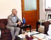 اسلام آباد: مشیر خزانہ مفاح اسماعیل سے یورپین یونین کے صفیر جین فرانکوئن ..