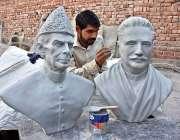 لاہور: ایک آرٹسٹ نیشنل ہیروز قائد اعظم محمد علی جناح اور علامہ محمد ..