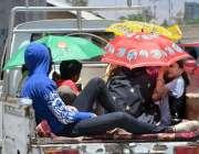 کوئٹہ: سوزوکی پک اپ میں بیٹھی فیملی نے دھوپ کی شدت سے بچنے کے لیے چھتریاں ..