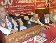 لاہور: پاکستان لیبر فیڈریشن کی50سالہ تقریب سے جنرل سیکرٹری حاجی سعید ..