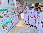 حیدر آباد: طالبات مہران آرٹس کونسل میں (بلیک ڈے آف کشمیر) کے حوالے منعقدہ ..