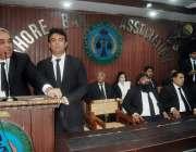 لاہور: لاہور بار کے صدر محمد ارشد جنرل ہاؤس اجلاس سے خطاب کر رہے ہیں۔