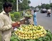 فیصل آباد: محنت کش سائیکل پر امرود رکھے گاہکوں کا منتظر ہے۔