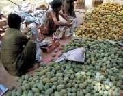بہاولپور: مزدور آم مارکیٹ میں سپلائی کے لیے لکڑے کی پیٹیوں میں پیک کر ..