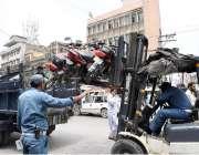 راولپنڈی: سٹی ٹریفک پولیس اور ٹی ایم اے کی طرف سے کئے جانے والے تجاوزات ..