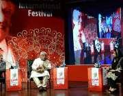 لاہور:الحمراء ہال میں منعقدہ فیض انٹر نیشنل فیسٹیول2018کے موقع پرسکرین ..
