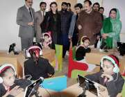لاہور: صوبائی وزیر سکولز ایجوکیشن رانا مشہود احمد خاں گورنمنٹ اے پی ..